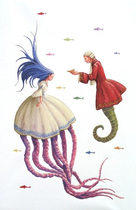 Vanni Cuoghi, La principessa dalle chiome blu, 2014, acrilico su tela, cm 60x40