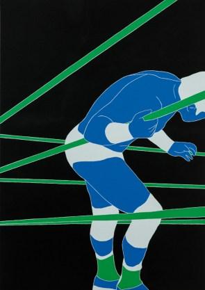Fosco Grisendi, Stand your ground #7, 2014 acrylic on jute canvas, cm 142x100