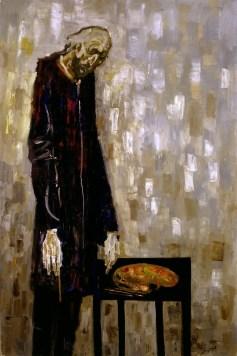 Trento Longaretti, Un vecchio pittore - Humana Pictura N.11, 2003, olio su tela, 180x120 cm