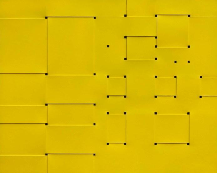 Armando Marrocco, Intreccio di situazioni (dalla divina proporzione), 1968, smalto giallo acrilico su cartone, 80x100.5 cm Courtesy Galleria Antonio Battaglia - Il Castello Contemporary Sezione: Main