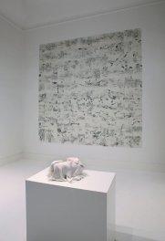 Elena El Asmar, Arioso Operoso, 2013-2014, fotocopie dal vero formato A4, 297 x 294 cm + Dispensar pensieri in tempo, 2011, materiali mistici, dimensioni variabili, ph. Luca Pancrazzi