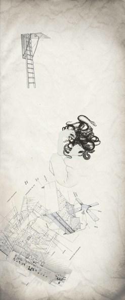 Jovana Vujanovic, Once upon a dream, 2014, stampa digitale e tecnica mista, 3 pezzi da 130x50 cm ciascuno