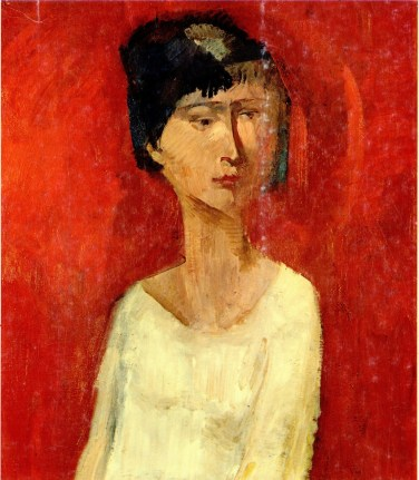 Trento Longaretti, Donna su fondo rosso, 1959, olio su tela, 70x50 cm