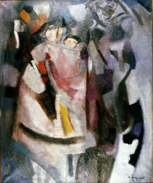 Trento Longaretti, Figure grigie e brune, 1972, olio su tela, 60x50 cm