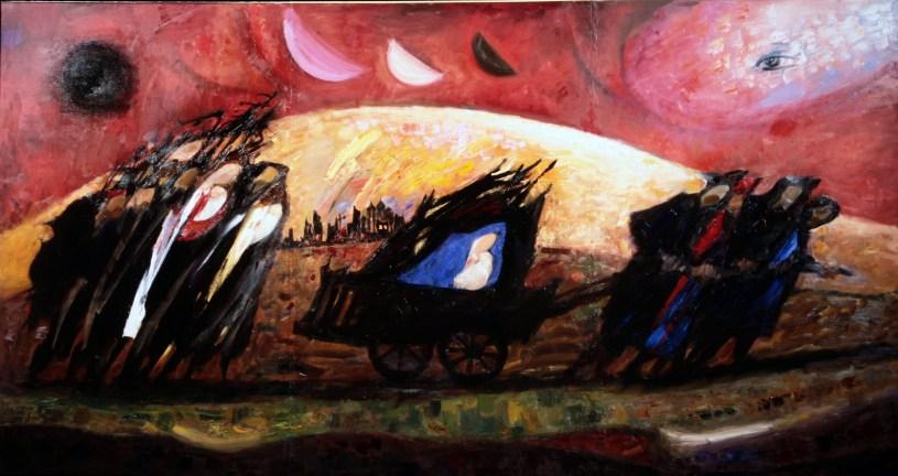 Trento Longaretti, Fuggiaschi e l'occhio di Dio, 2001-2002, olio su tela, 160x300 cm