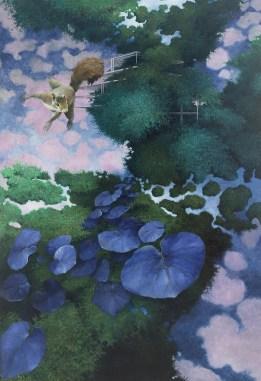 Carlo Cane, Trasformazione, 2014, olio su tela applicata su tavola, 160x110 cm