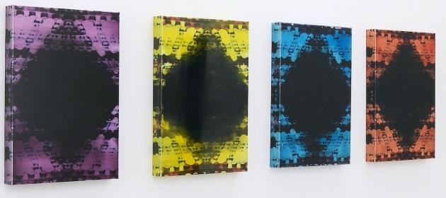 Matteo Negri, Sfumature di nero, 2015, tecnica mista, stampa Flatbed su alluminio, 60x40x8 cm ciascuna (veduta dell'installazione) © Negri 2014