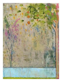 Harry Adams, Study for a Disappearing Garden, 2014, oil characoal and beeswax encaustic on cotton covered boards, 61×80 cm