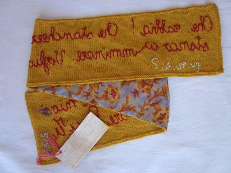 Tiziana Fusari, sciarpa, lana , cotone, lino e seta, 16x115 cm