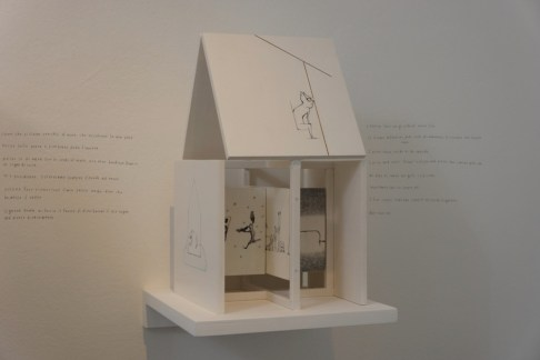 Ayumi Kudo, House's monologue, 2015, drawings on wood, 21.5x21.5x40 cm