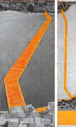 """Christo The Floating Piers (Project for Lake Iseo, Italy) Drawing 2015 in two parts 96 x 42"""" and 96 x 15"""" (244 x 106.6 cm and 244 x 38 cm) Pencil, charcoal, pastel, wax crayon, enamel paint, cut-out photographs by Wolfgang Volz, hand-drawn map, fabric sample and tape Photo: André Grossmann © 2015 Christo"""