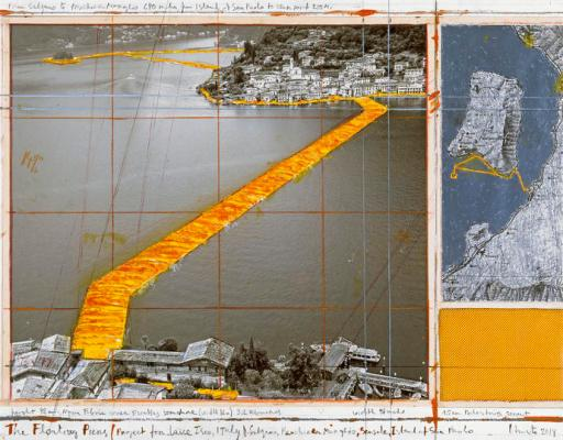 "Christo The Floating Piers (Project for Lake Iseo, Italy) Collage 2014 17 x 22"" (43.2 x 55.9 cm) Pencil, wax crayon, enamel paint, photograph by Wolfgang Volz, map, fabric sample and tape Photo: André Grossmann © 2014 Christo"