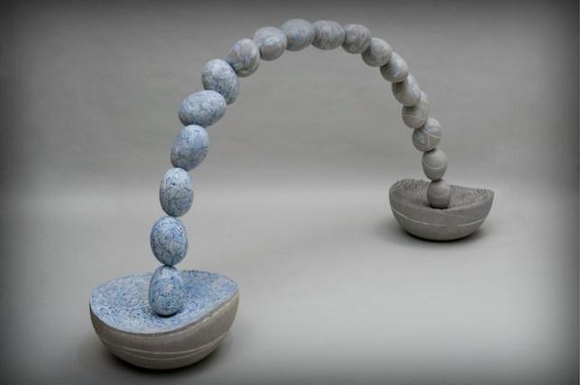 ALFREDO GIOVENTU', I sassi del cielo, 2013, Grès porcellanato e smalto, cm 100 x 200; basi cm 45 diam.