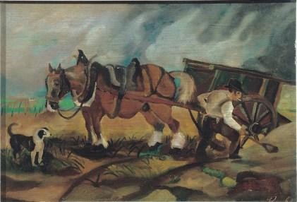 Antonio Ligabue, Il carrettiere, 1932-33, olio su tavola di compensato, 32x47 cm