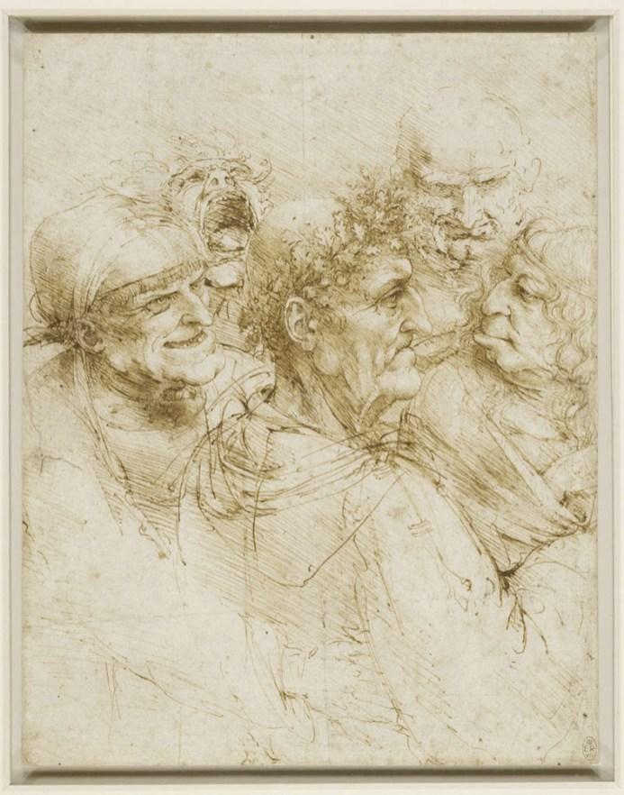 Leonardo da Vinci, Cinque teste grittesche, 1493-95 circa, penna e inchiostro su carta bianca, 26x20.5 cm, The Royal Collection / HM Queen Elizabeth II