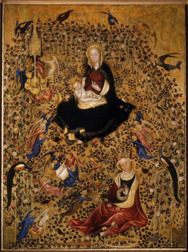 Michelino da Besozzo (attribuito), Madonna del Roseto (Madonna col Bambino e S. Caterina), tempera su tavola trasportata su tela, 130x95x2.4 cm, Cibici Musei d'Arte, Museo di Castelvecchio, Verona