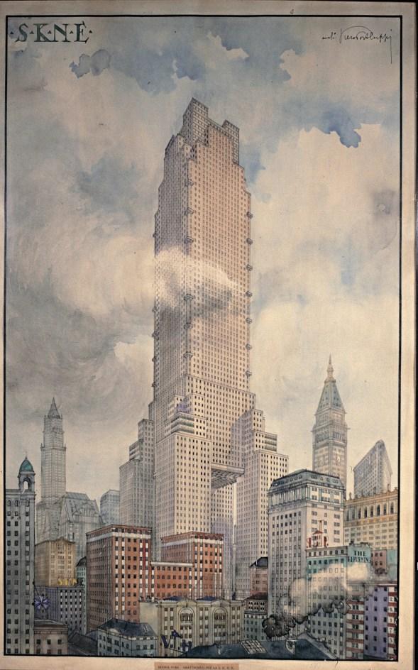 Piero Portaluppi, Studio per il grattacielo S.K.N.E. New York (USA) 1920 (RP181 ) Courtesy Fondazione Piero Portaluppi