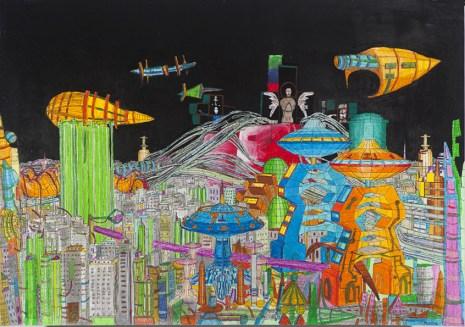 Marco Bolognesi, Propaganda Sendai: Urban planning no1 Photocollage - pastello ad olio, 2014, 107x152
