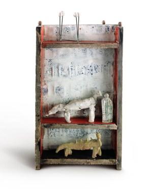 Fausto Melotti I vizi e le virtù , 1959 Céramique émaillée, terre cuite peinte, laiton 45,5x21,5x7,2 cm Collection Privée Photo : Fondazione Fausto Melotti © Archivio Fausto Melotti