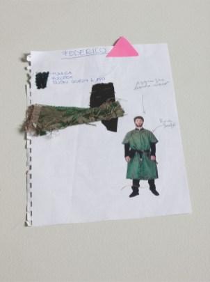 """Lina Nerli Taviani, Costume per Federico da """"Maraviglioso Boccaccio"""", 2014, tunica di raso damascato verde e avana e farsetto di velluto impunturato nero"""