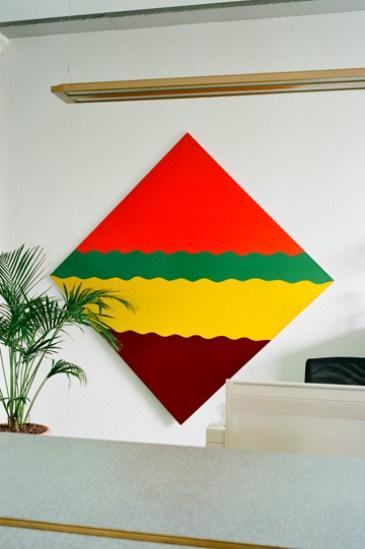 Luigi Lurati, Streifenbild [Stripe Painting], 1965, synthetic resin on cotton, 160x160 cm Courtesy Sammlung Ricola Photo Eva-Christina Meier, 2009, Volksfreund