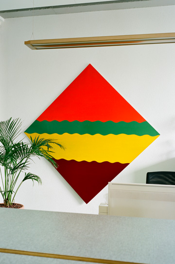 Luigi Lurati, Streifenbild [Stripe Painting], 1965, synthetic resin on cotton, 160x160 cm Courtesy Sammlung Ricola Photo Eva-Christina Meier, 2009, Volksfreund