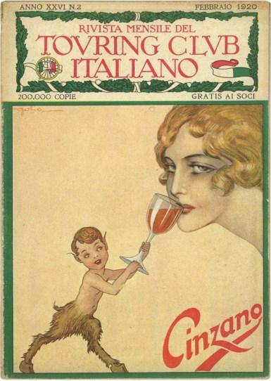 """Copertina della rivista """"Touring Club Italiano"""", febbraio 1920"""
