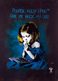 Mr. Savethewall, Holy iPad, 2014 spray su tela, cm 100x70