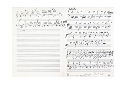 Giuseppe Chiari, Senza titolo, 1964, inchiostro su carta pentagrammata, cm 33 x 46,5, Courtesy Francesco Clivio Arte Moderna, Parma – Milano