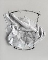Gino Sabatini Odoardi, Senza titolo con B.C., 2015, cotone ricamato, polvere, grafite, polistirene, cm 55x68x4