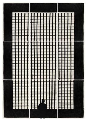Marco Neri, Visto Ingresso, 2010, tempera, acrilico e collage su carta