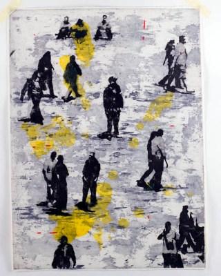 Nicola Villa, Internazionale 1, 2009, acquaforte e acquatinta su rame, colorata a mano, 70x50 cm