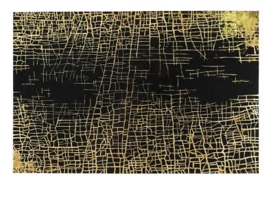 Massimiliano Galliani, Le Strade Del Tempo #2, 2013, vernice e foglie di ottone su tela, cm. 140x210