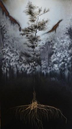 Giulia Dall'Olio, g 8][6 d, 2014, olio su tavola incisa, 54x29.5 cm