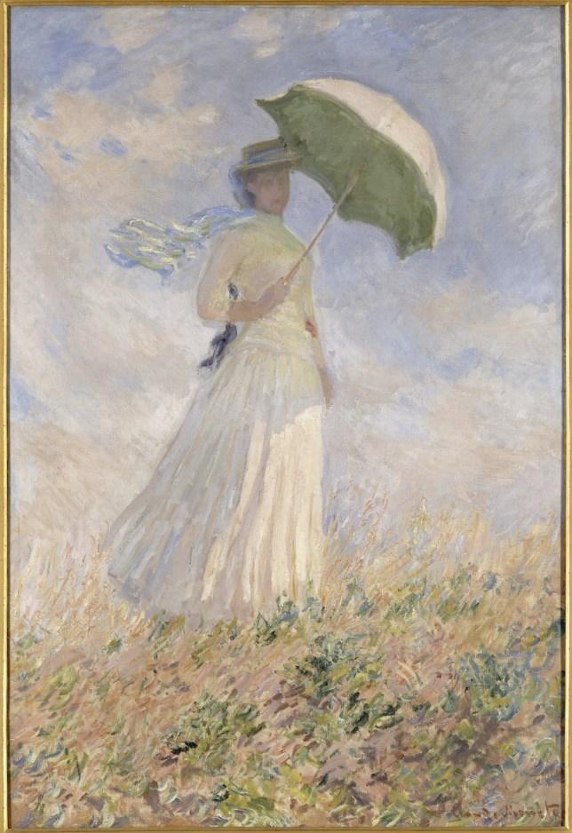 Claude Monet, Essai de figure en plein-air: Femme à l'ombrelle tournée vers la droite, 1886, olio su tela, 130.5x89.3 cm, inv. RF 2620 14 (i.d 30) Monet 14, Paris, Musée d'Orsay © RMN-Grand Palais (Musée d'Orsay) / Hervé Lewandowski