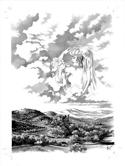 """Magnus, Disegno per la copertina del volume """"Le femmine incantate"""" (prima ediz. Granata Press 1990) © Eredi Raviola – Edizioni Rizzoli Lizard"""