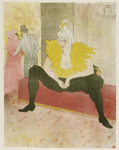 Henri de Toulouse-Lautrec, The Seated Clowness (Mademoiselle Cha-UKao), 1896, lithograph in five colours on wove paper, 52x40.3 cm, Galleria Nazionale, Budapest