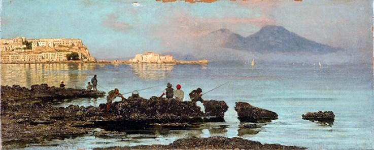 Federico Cortese, Da Mergellina, 1883, olio su tela, cm 68x28