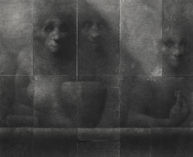 Lorenzo Cardi, Composizione 3 (22fogli), fusaggine, chiodi, carta Arches, cm 180x240 (dettaglio)
