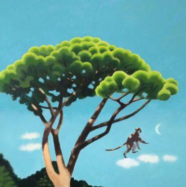 Kyoko Dufaux, La scimmia e il pino, 2015, acrilico su tela, 60x60 cm Courtesy Galleria Paraventi Giapponesi - Galleria Nobili, Milano