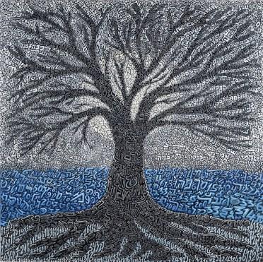 Tobia Ravà, albero di luna, 2015, resina e tempere acriliche su tela, 130 x 130