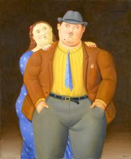 Fernando Botero Man and Woman 2013 Olio su tela, 100x83 cm. Courtesy Galleria Tega