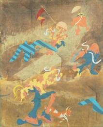 Emilio Tadini, Dopo la sei giorni, 1965, tempera e cera su tela, 100x81 cm
