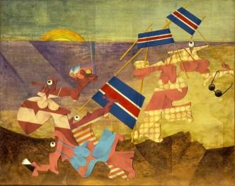 Emilio Tadini, Le vacanze inquiete, 1965, acrilici su tela, 65x81 cm