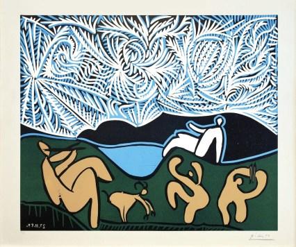 Pablo Picasso, Bacchanale avec Chevreau et Spectateur, 1959, linocut, 62x75 cm