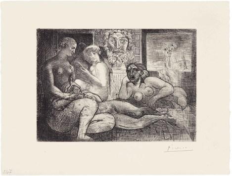 Pablo Picasso, Femmes entre elles avec voyeur sculpte. Clin d'oeil au bain turc, 1934