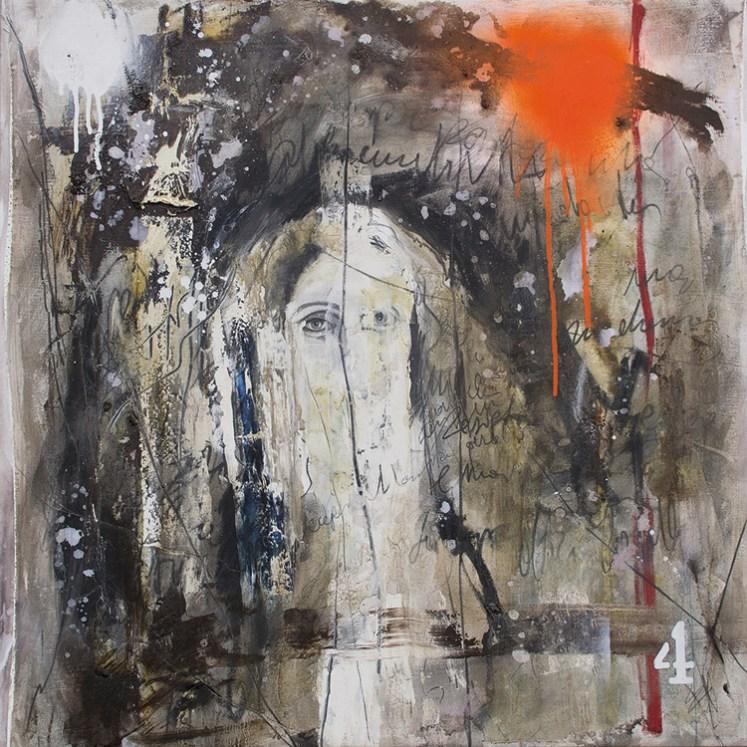 Ersilia Sarrecchia, A Woman 4, 2014, olio, grafite, vernici industriali su tela di lino su tavola, cm 75x75