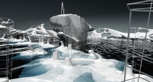 Giuliana Cunéaz, Rompere le acque, 3D animation (frame), videoinstallatione