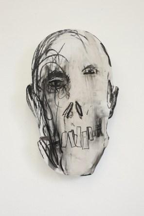Bernardì Roig, Autoritratto definitivo, carbone e grafite su intonaco di ceramica e legno Courtesy of Maurizio Caldirola Arte Contemporanea Photo Bruno Bani