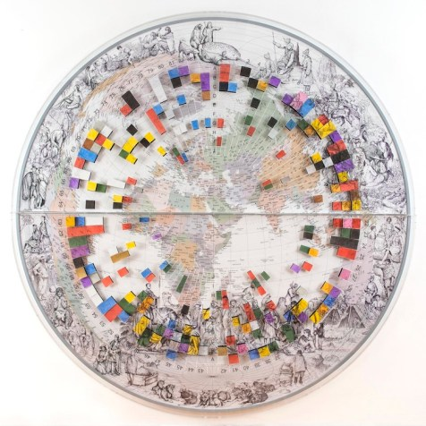 Pietro Ruffo, The Colours of Cultural Map, 2015, acquerello e ritagli di carta su tela, diametro 288 cm